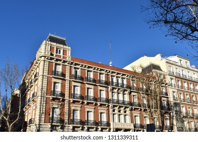 View of a typical Neo-Baroque apartment building in the historic center of Madrid, Spain