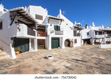 View of a typical residence of fishing village of Binibeca, Menorca, Spain