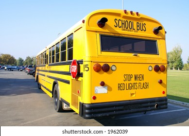 View of a typical school bus as used throughout the United States