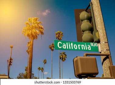 """Aussicht auf eine typisch südkalifornische Szene mit einem Schild """"California Bl"""", Palmen und Sonnenstrahlen"""