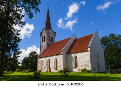 View of typical stone lutheran church in Estonia