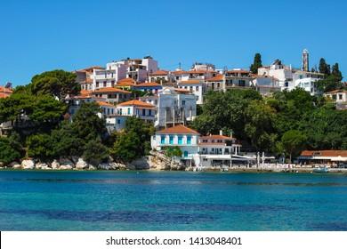 View of typical white houses of Skiathos town in Skiathos island, Aegean sea, Greece