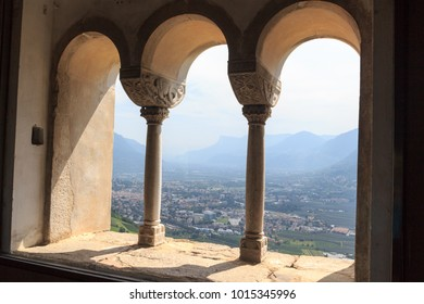 View from Tyrol Castle towards Merano cityscape panorama, South Tyrol