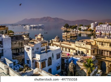 View of the Udaipur city  called the most romantic city in India or the Venice of India