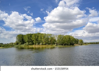 view of Ukrainian Dnieper river on early September autumn day