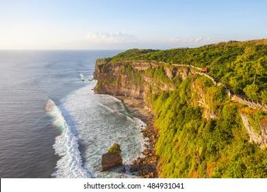 View of Uluwatu cliff and blue sea in Bali, Indonesia