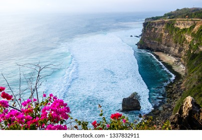View of Uluwatu temple of top of the cliff, in Uluwatu, Bali, Indonesia, ocean landscape