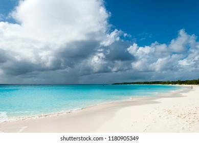 The view of un unspoiled beach on Half Moon Cay uninhabited island (Bahamas).