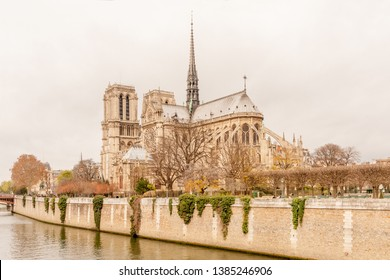 View of undamaged east facade of Notre Dame de Paris in autumn colors before the renovation work and fire, Paris, France