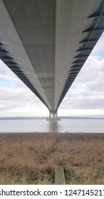 View from under the large suspension bridge  Humber Bridge – Barton-upon-Humber, England