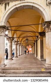 View under a portico in Belluno. 3 January 2019 Belluno, Veneto - Italy