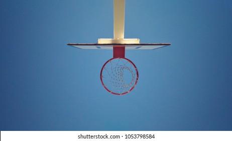 View underneath basketball Hoop
