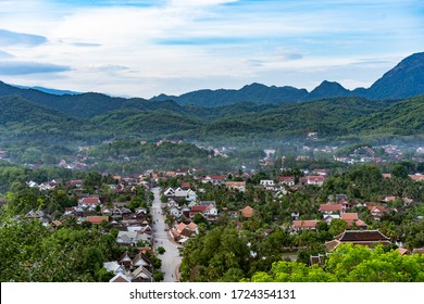 View of Unesco Heritage, Luang Prabang City from the Top of Mount Phousi Hill in Laos
