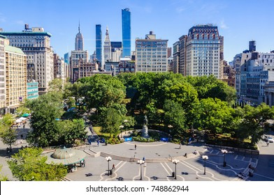 View of Union Square from a shop, New York, USA