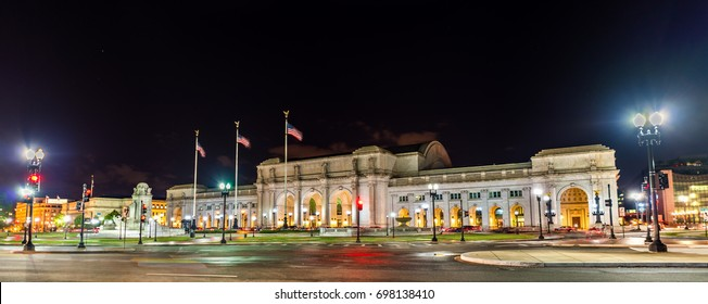 View of Union Station in Washington DC at night. United States