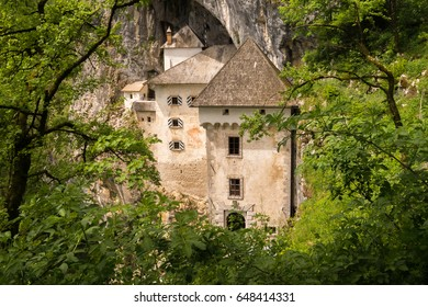 View to the unique and famous Predjama Castle in Slovenia from the forest. The renaissance castle was built within a cave mouth to offer best protection.