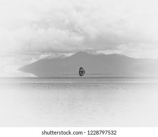 View of the unique lake Salar de Uyuni. This is the largest salt flat in the World (UNESCO World Heritage Site) - Altiplano, Bolivia, South America (black and white)