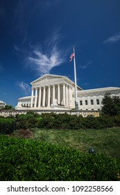 A view of the United States Supreme Court building in Washington, D.C. on a sunny and beautiful spring day.