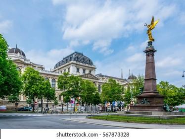 View of the University of Vienna (Universitat Wien) with Liebenberg memorial in Austria.