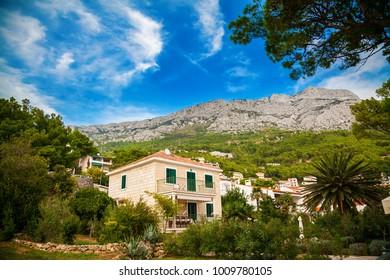 view of the unrecognizable villa in Brela village, Makarska Riviera, Croatia