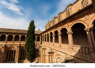 View of upper archery in the cloister of San Esteban convent in Salamanca Spain