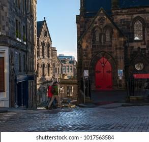 A view to Upper Bow street in Edinburgh, Scotland.
