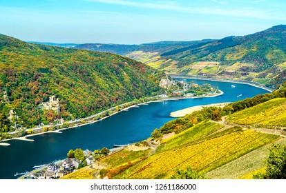 View of the Upper Middle Rhine Valley with Rheinstein and Reichenstein Castles. UNESCO world heritage in Germany