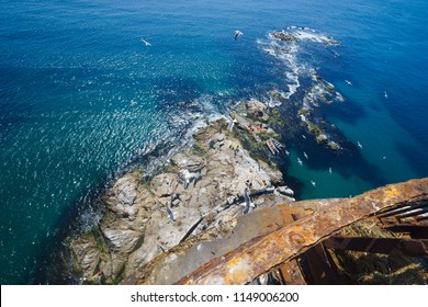 """View from the upper point of the """"Aniva"""" lighthouse to the southernmost point of Sakhalin Island, Russia."""