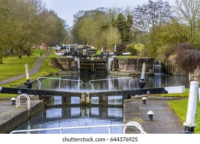 A view of the upper section of the canal locks at Hatton Locks near Warwick, UK late on a winters day