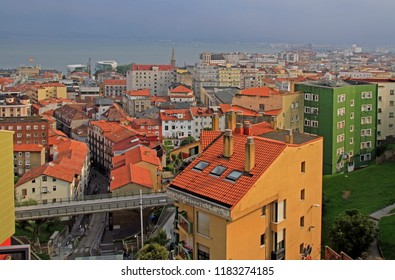 View from the upper station of city funicular, across the Bay Of Santander