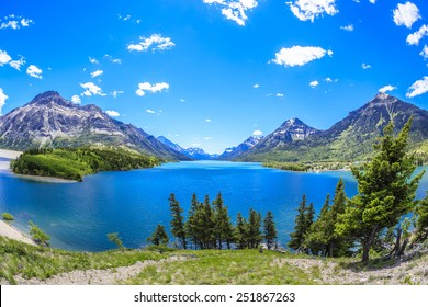 The view of Upper Waterton Lake looking south from the hotel at Waterton Lakes National Park in Alberta, Canada