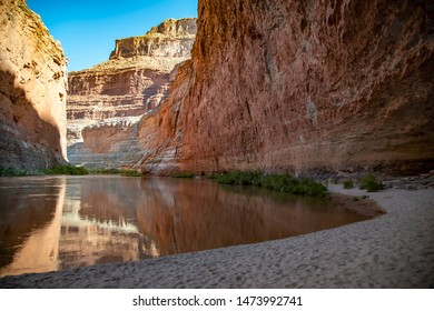 View upstream from Redwall Cavern, a large natural ampitheatre along the Colorado River in Grand Canyon National Park