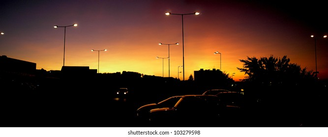 view of the urban scene at sunset