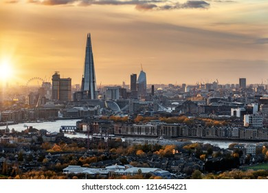 View to the urban skyline of London in autumn during sunset time with the majoy tourist attractions, United Kingdom