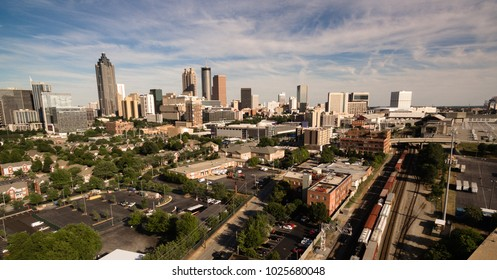 A view of the urban sprawl of buildings in the vast Atlanta, Georgia skyline North America