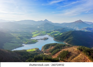 view of Urkulu reservoir in Basque Country
