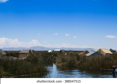 View of the Uros Islands on Lake Titicaca, Peru