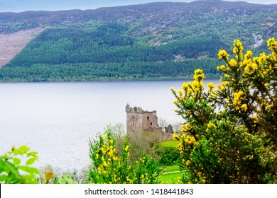 View of the urquhart Castle on the Loch Ness River in Scotland