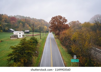 View of US 501 on a cloudy autumn day, from the Blue Ridge Parkway near Glasgow, Virginia.