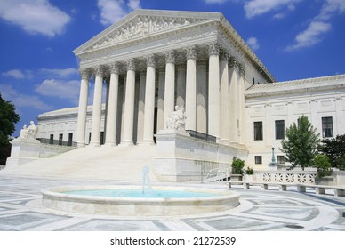 View of the US Supreme Court in Washington DC on a clear day  (polarizing filter)