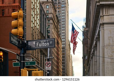 View of USA flag on Fulton Street in Lower Manhattan, New York City