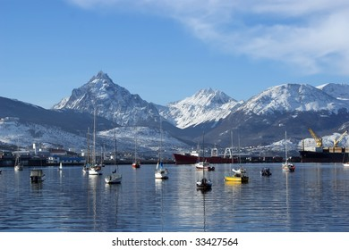 View of Ushuaia and mountains from the bay