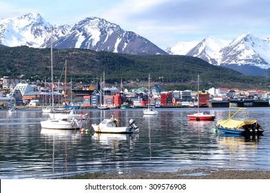 A view of Ushuaia, Tierra del Fuego. Boats line the harbor