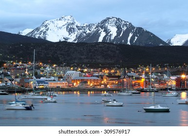 A view of Ushuaia, Tierra del Fuego. Boats line the harbor