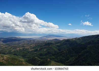 View of Utah Lake and mountains of Uinta National Forest from high road between Tooele and Herriman, Utah