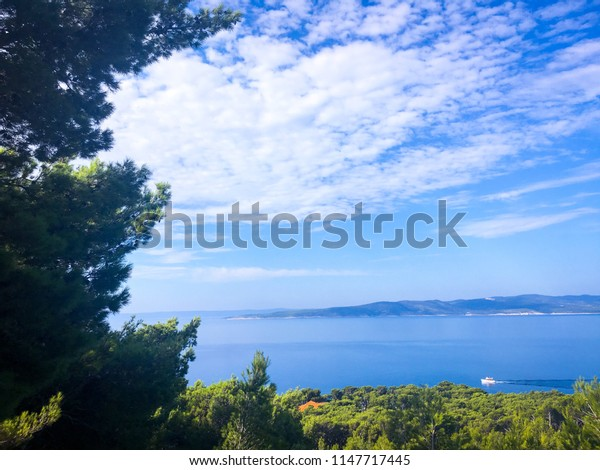View from vacation in Croatia, beautiful and great shot with small boat on the sea