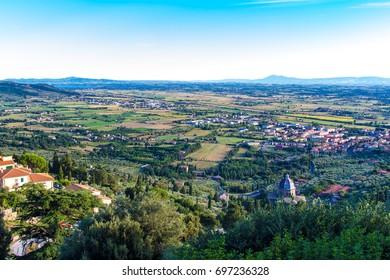 View of Val di Chiana from Cortona in tuscany, Italy