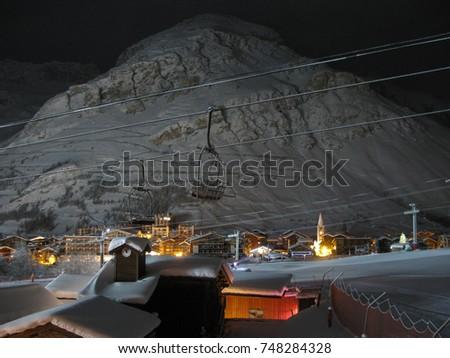 Christmas Village Ski Lift.View Val D Isere Ski Resort Village Stock Photo Edit Now
