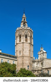 View of Valencia Cathedral or Basilica of the Assumption of Our Lady of Valencia from Plaza de la Reina, Spain
