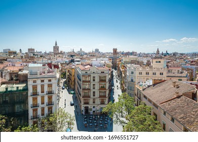 View at Valencia downtown with people walking in the street. Rooftops of Valencia downtown. Spain. Europe.